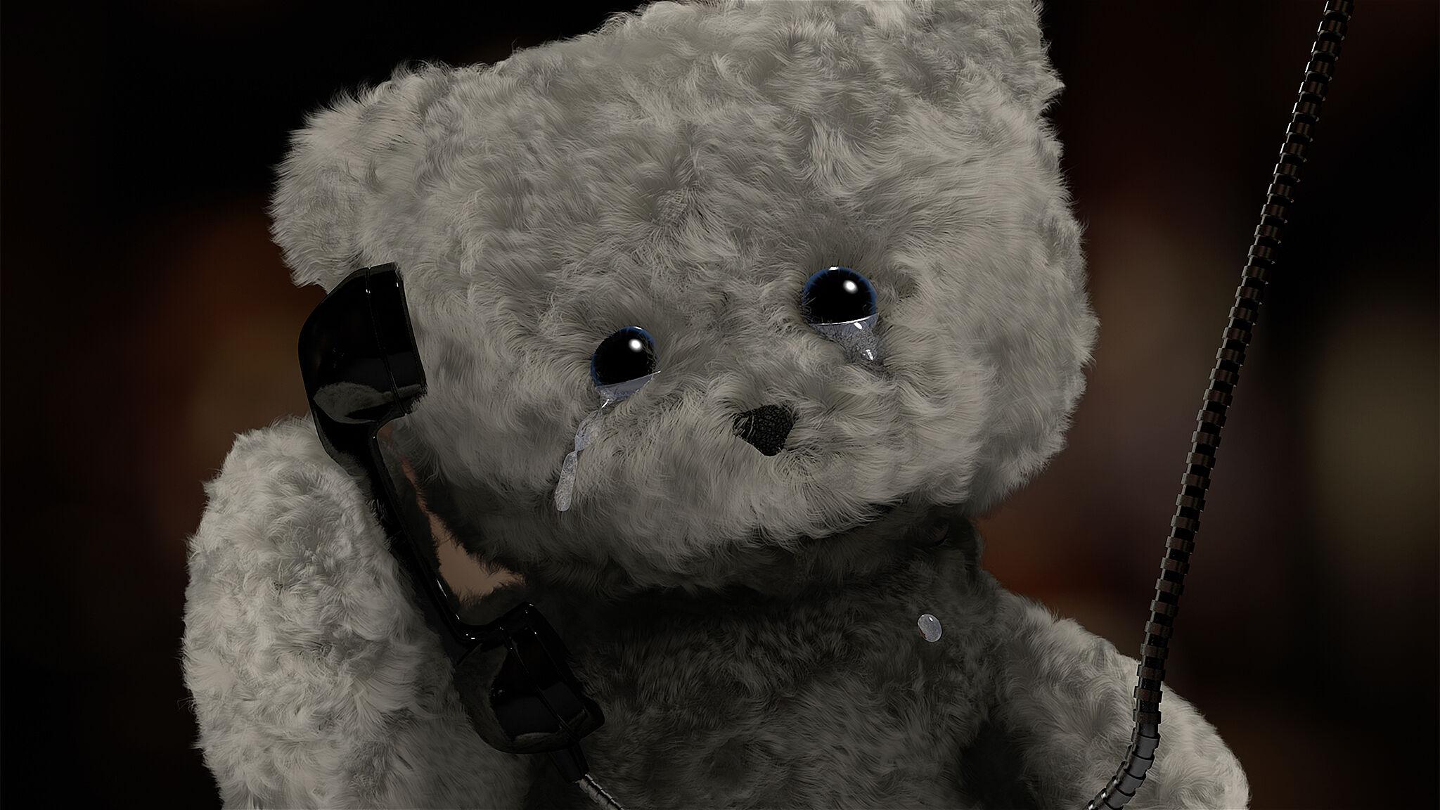 Film still of a bear crying.