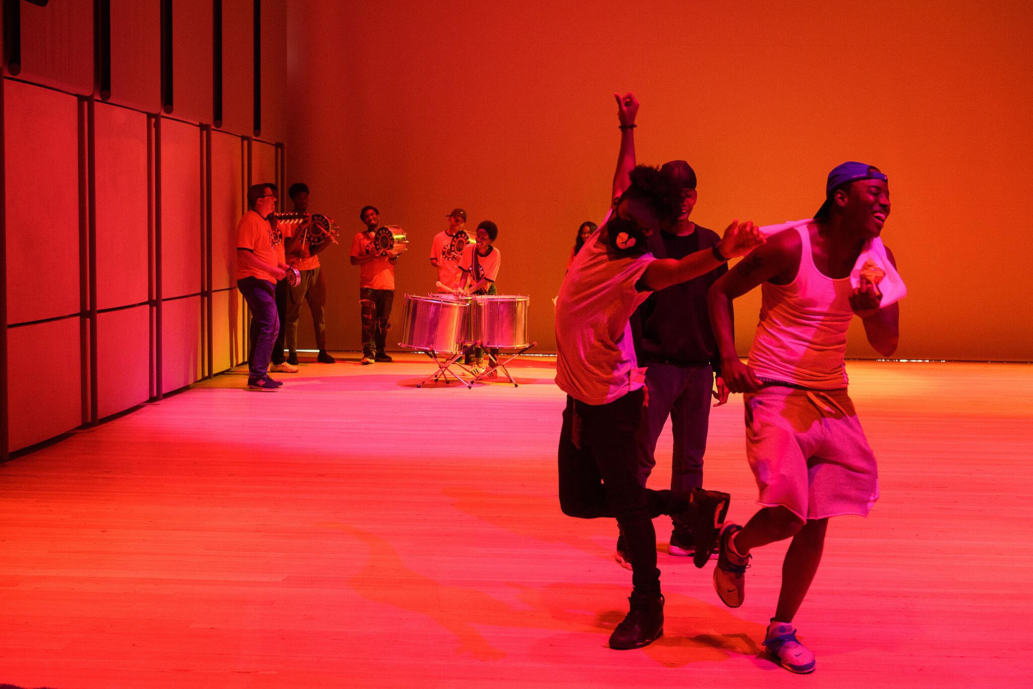 Teens dancing.