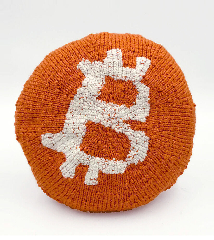 A knitted bitcoin.