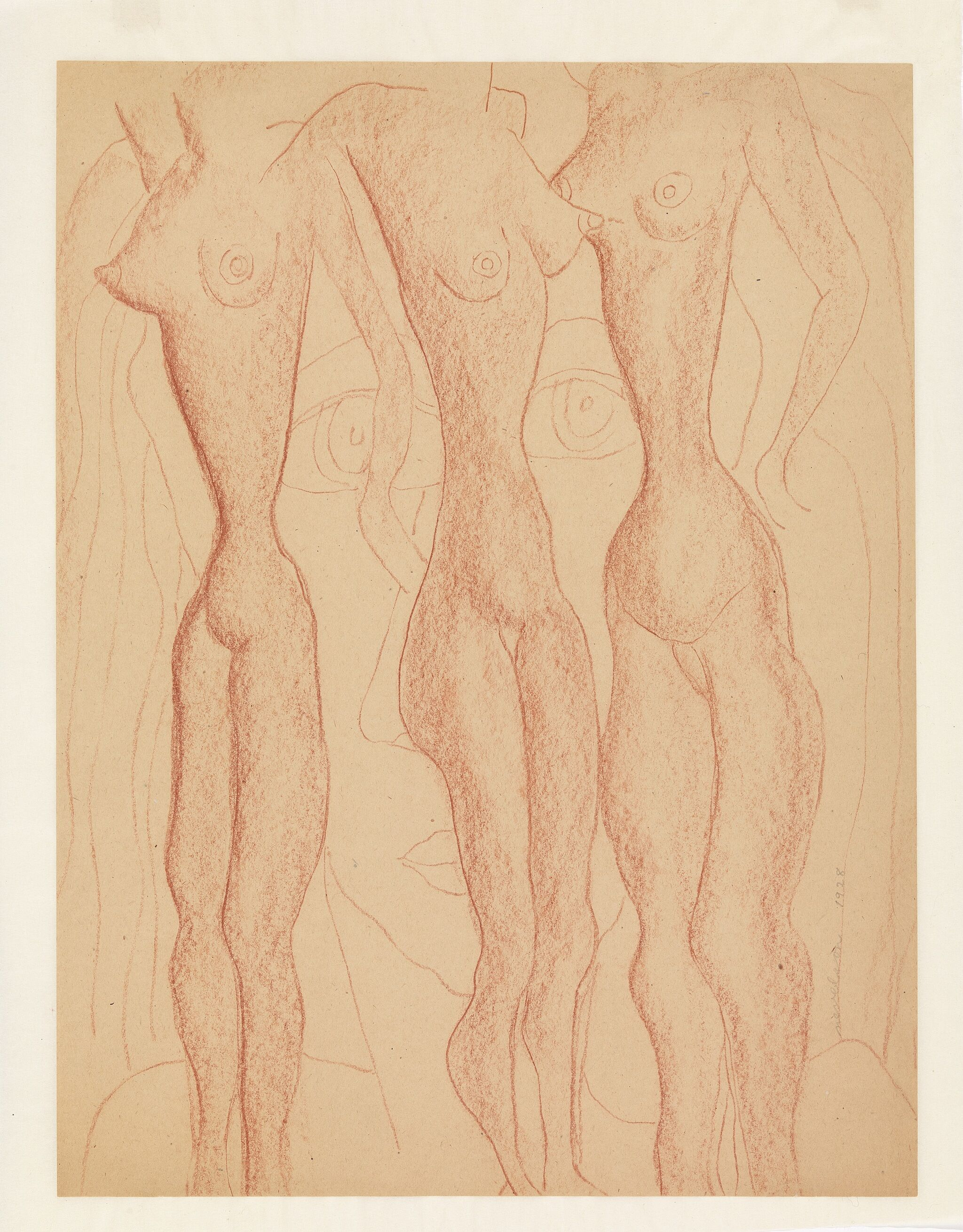 Sketch of elongated nude female bodies.