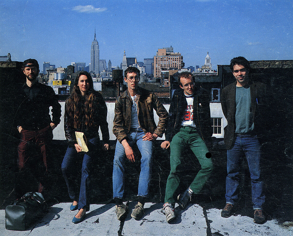 John Fekner, Jenny Holzer, David Wojnarowicz, Keith Haring and Michael Smith on a roof.