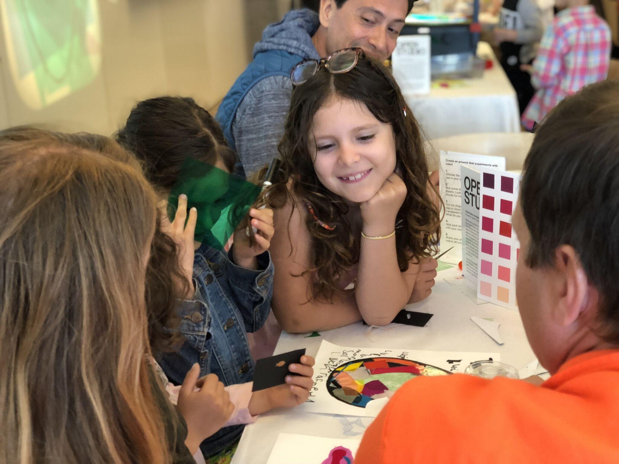 Families making art in Open Studio