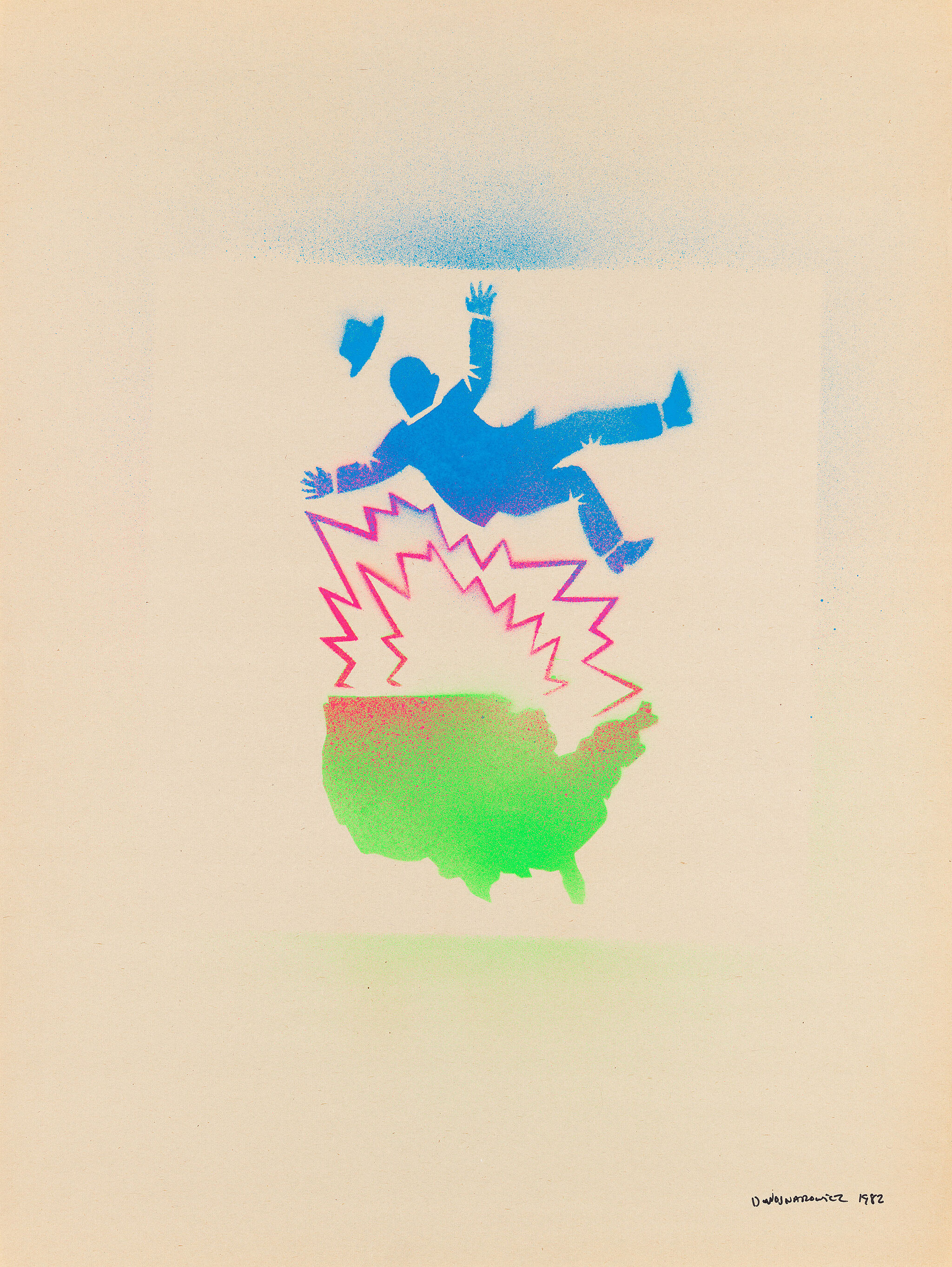 Colorful graphic artwork of a man falling.
