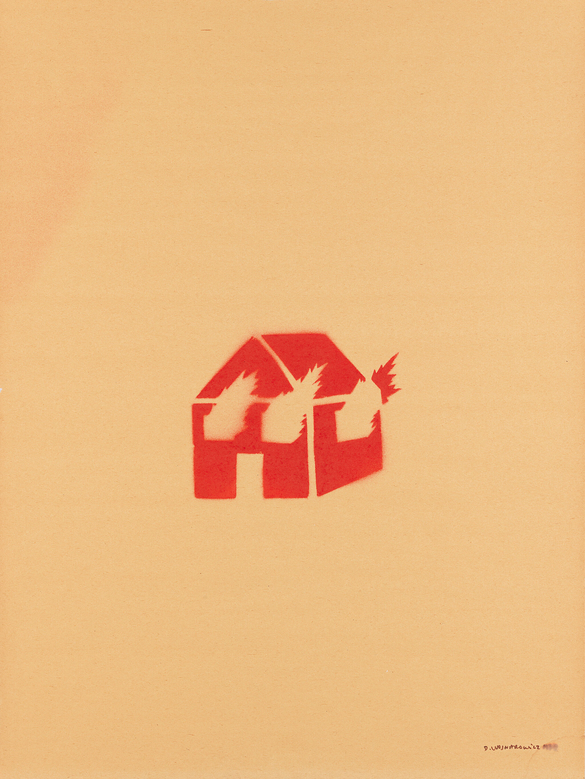 Stencil of a burning house.