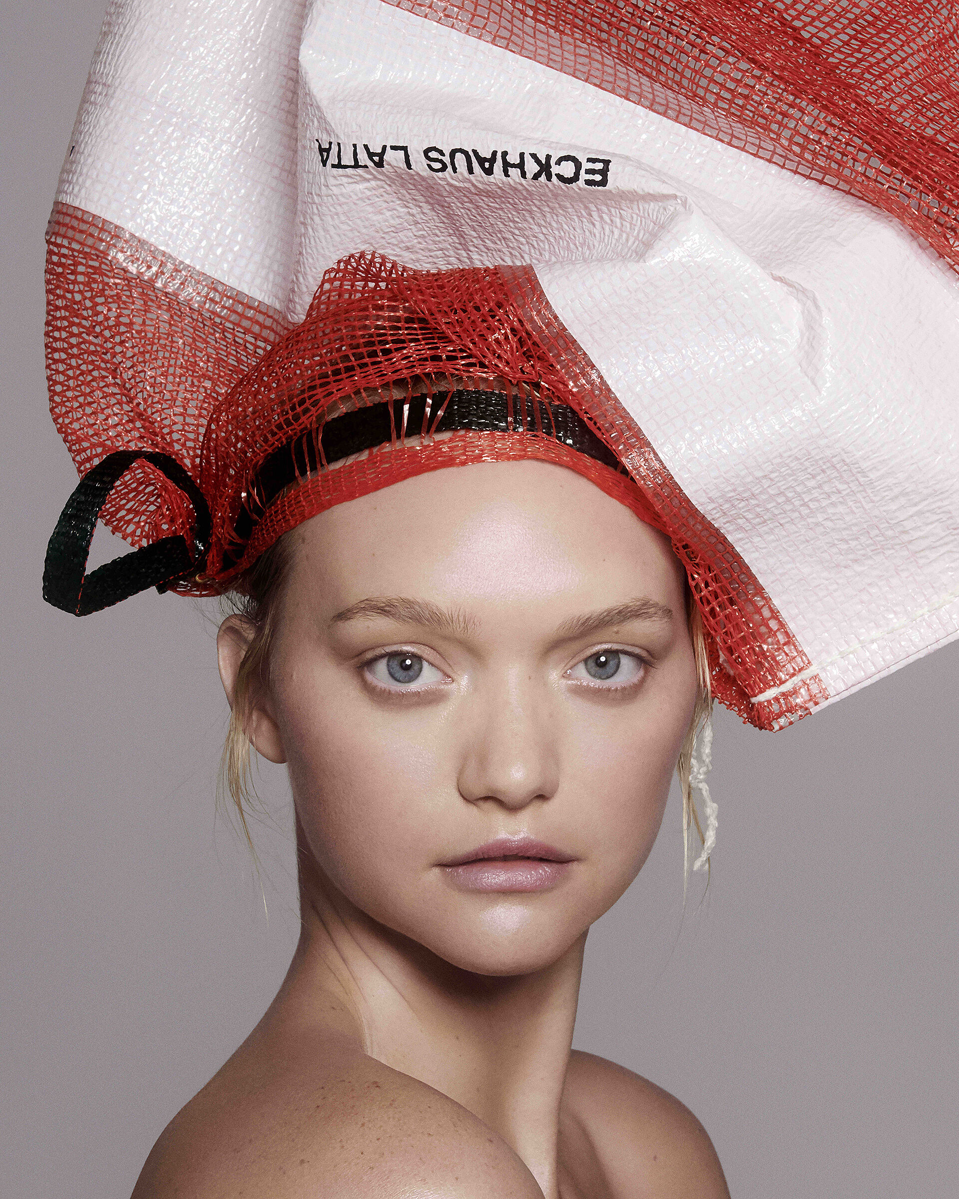A model with a bag on her head.