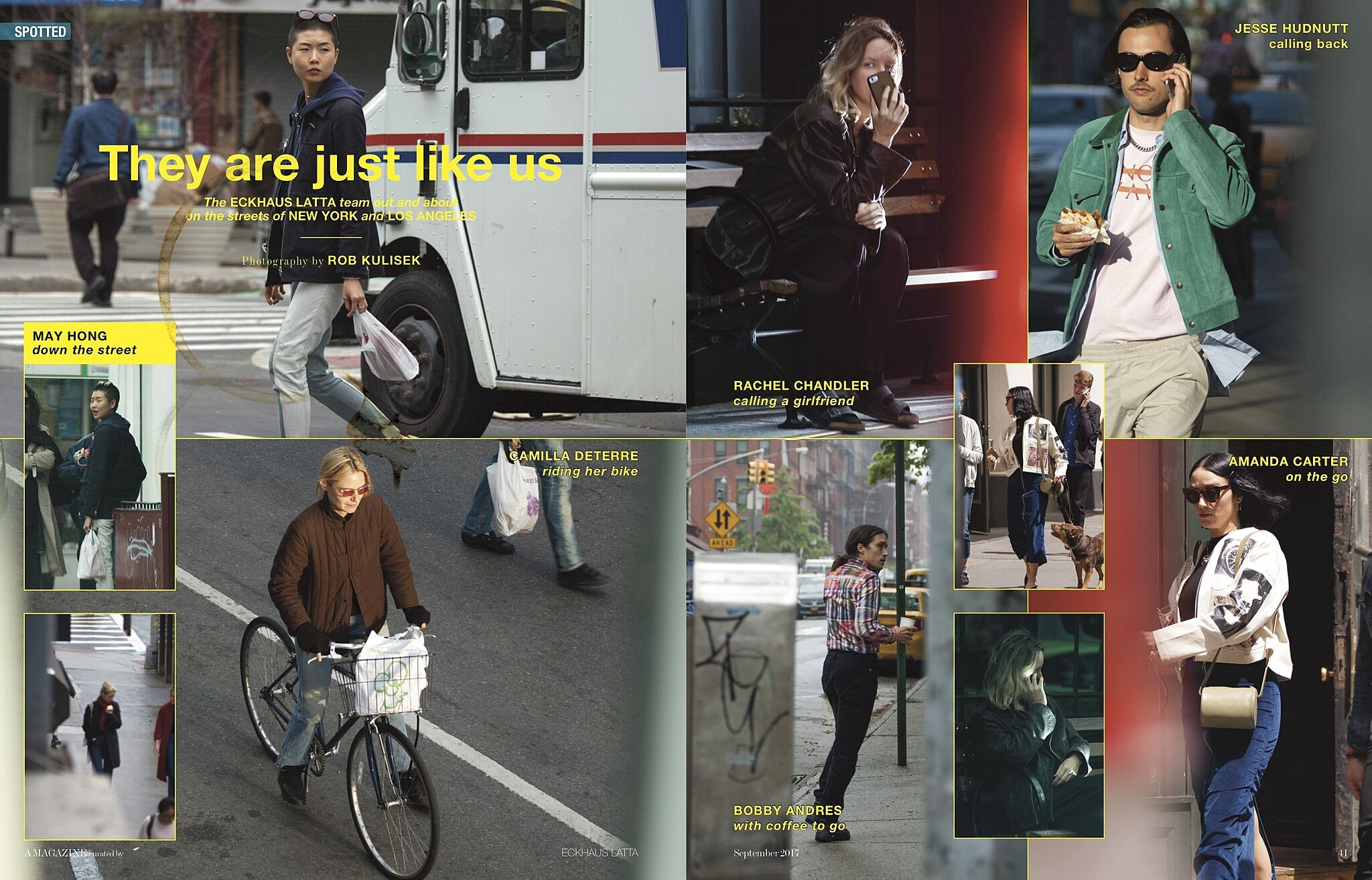 A magazine spread featuring the Eckhaus Latta team.