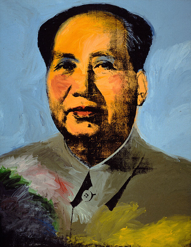 An image of Mao painted with bright colors.