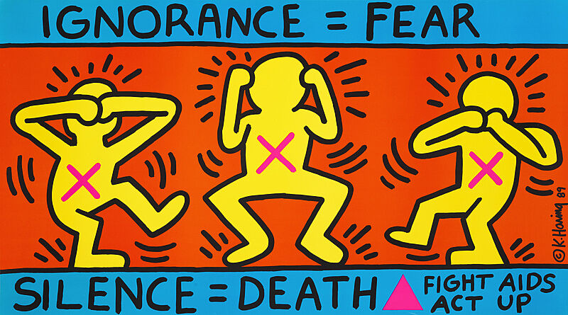 "A painting of three figures in the see no evil, hear no evil, speak no evil poses with the text ""Ignorace = Fear / Silence = Death = Fight AIDs Act Up"""