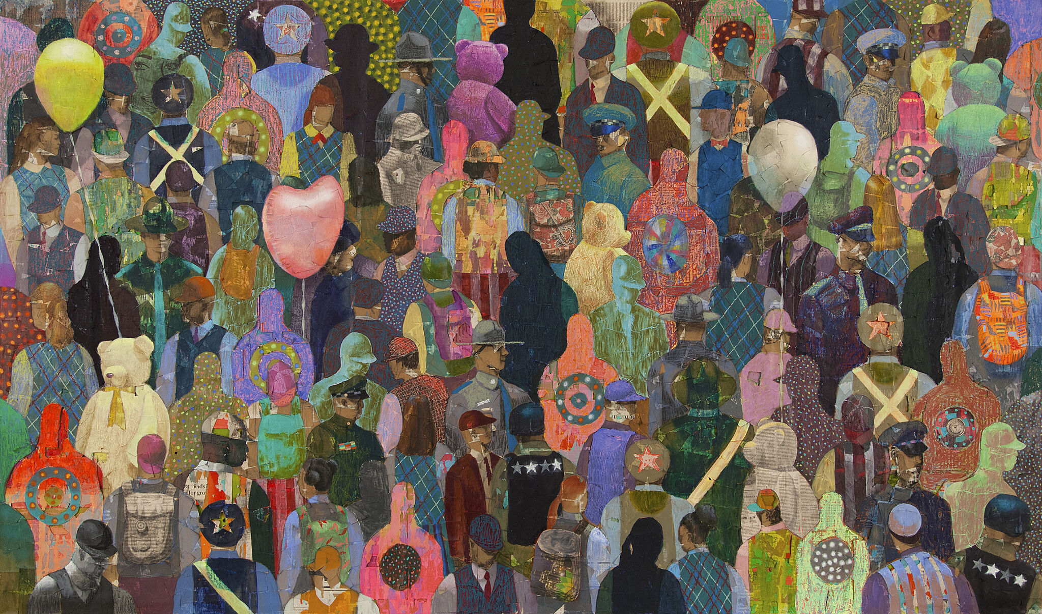 Stylized and colorful crowd of people, some holding balloons.