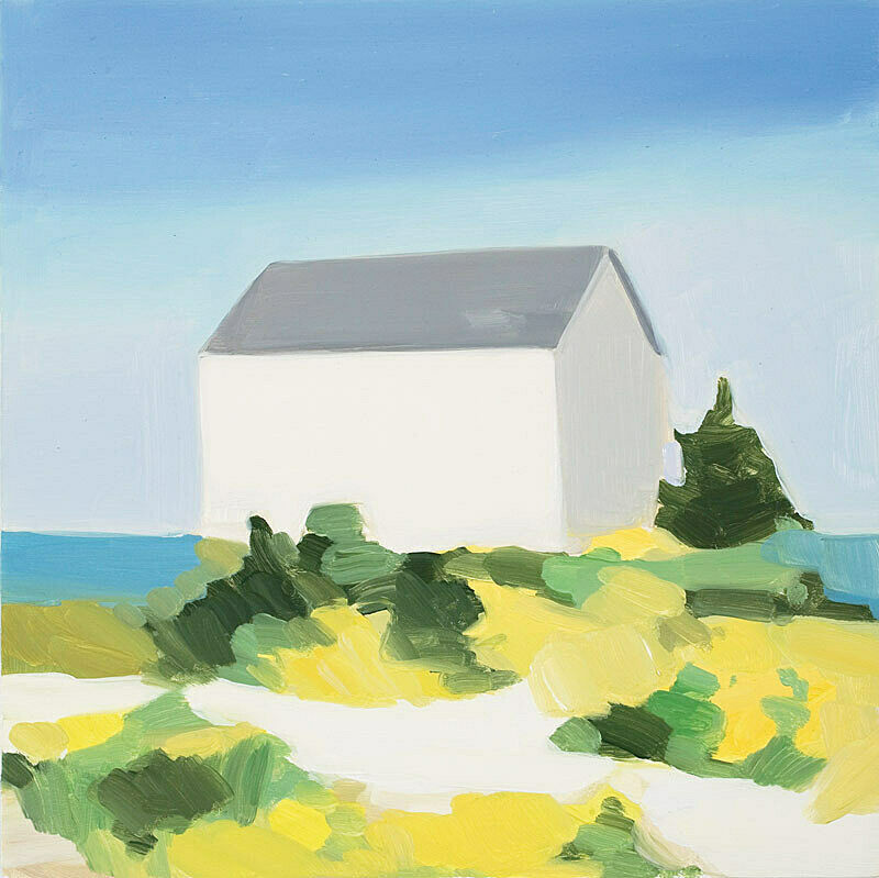 A painting of a house by the sea.