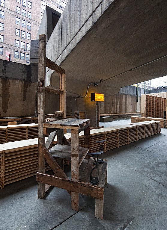 A wooden installation.
