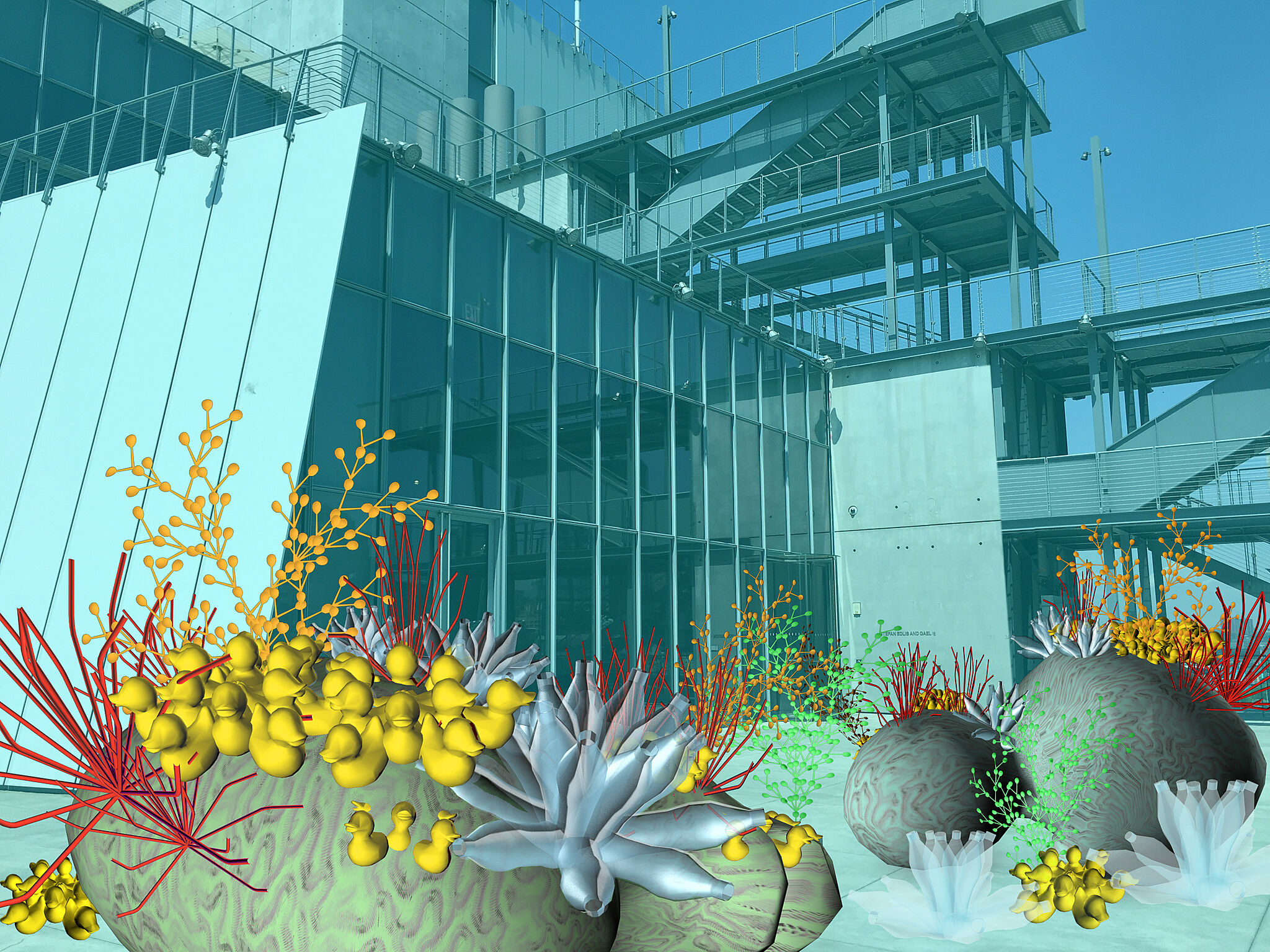 A screenshot of an AR coral reef at the Whitney Museum.