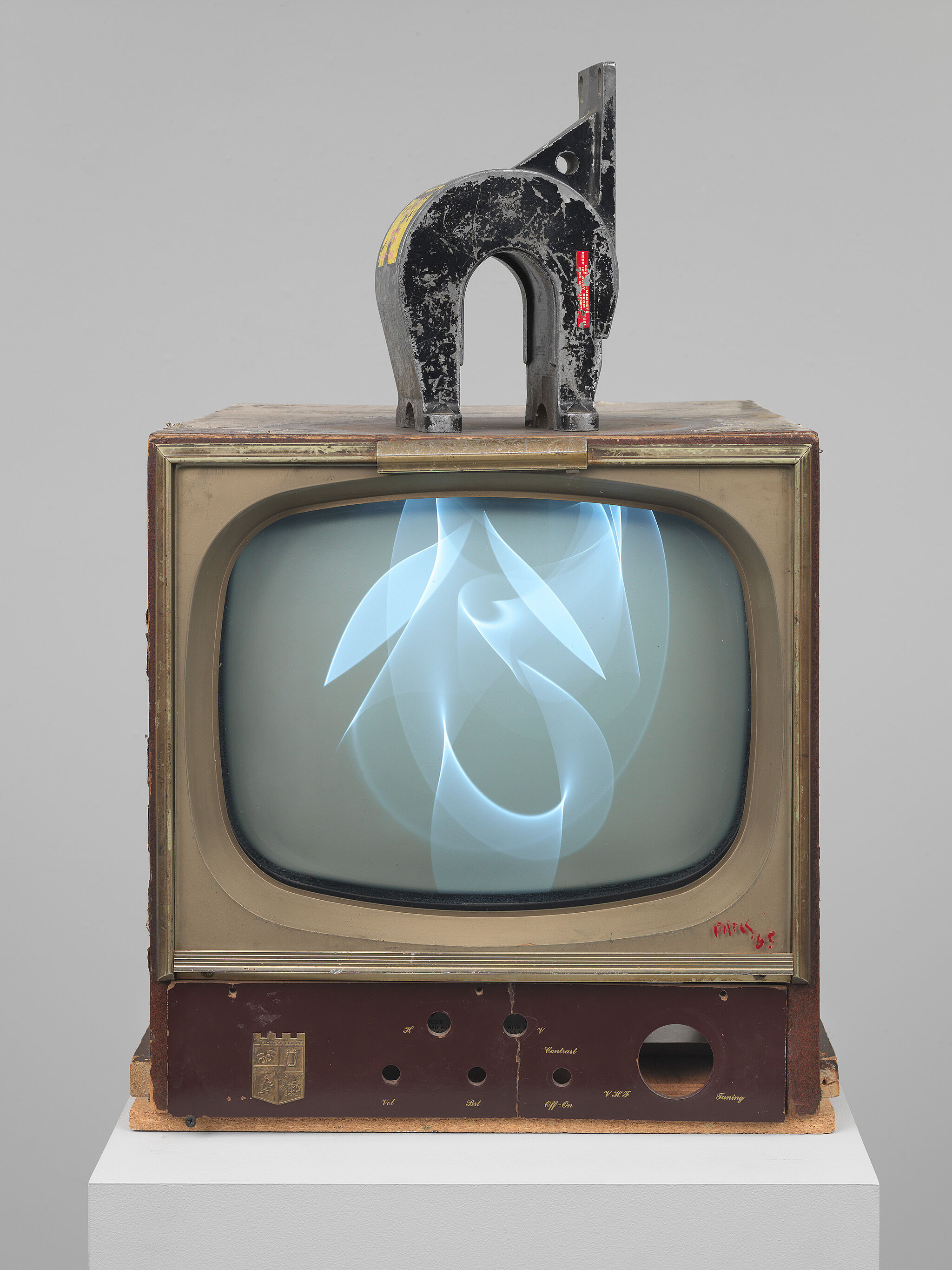 A large magnet on top of a television.