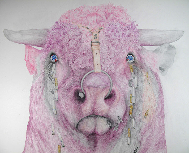 A pencil drawing of a pink cow.