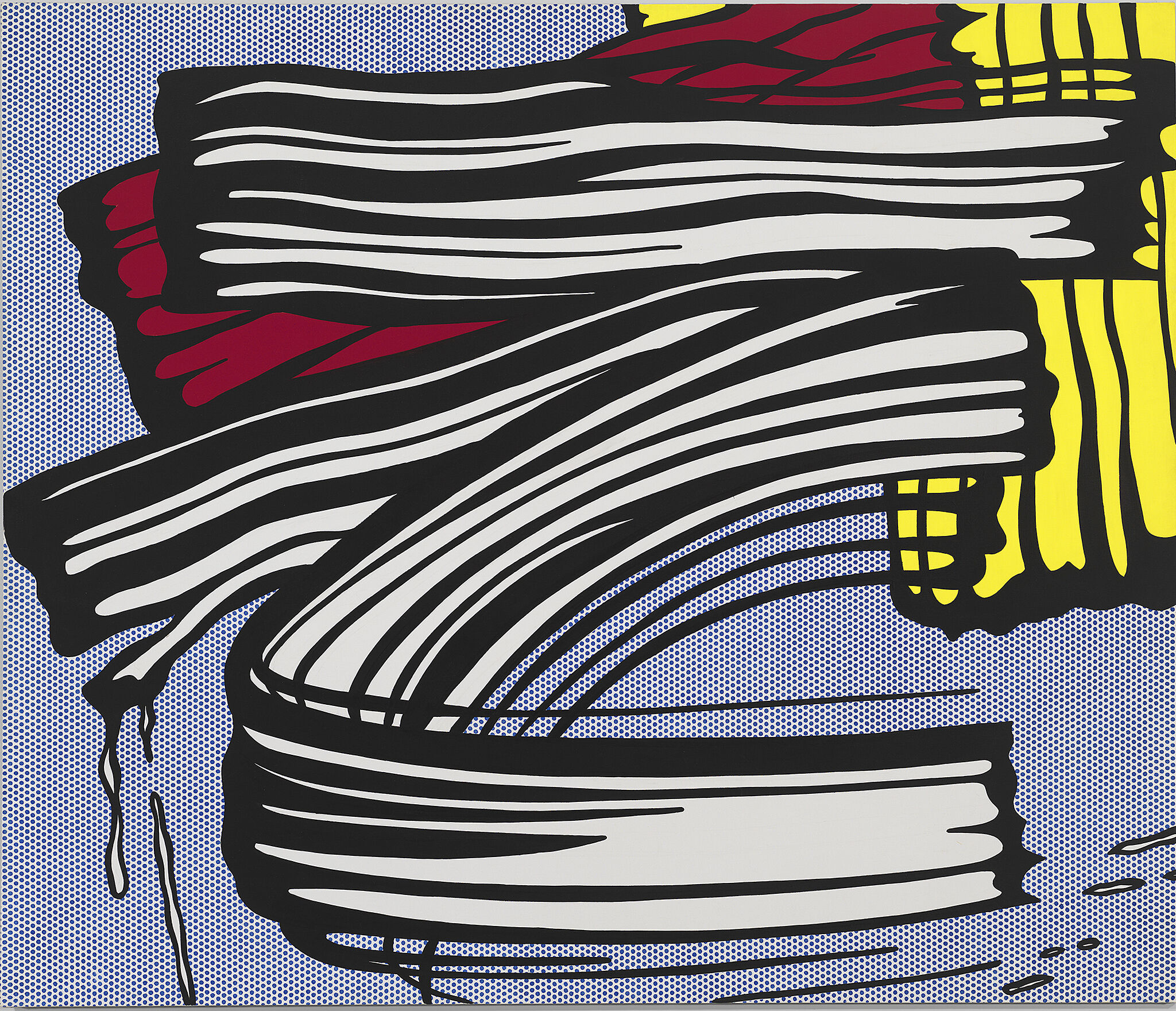 Photo of a pop art painting by Roy Lichtenstein, depicting bold brush strokes.