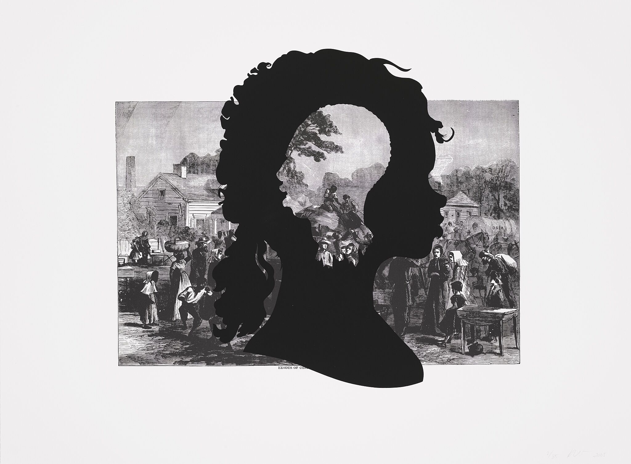 Silhouette cutout of a woman's face over a print.