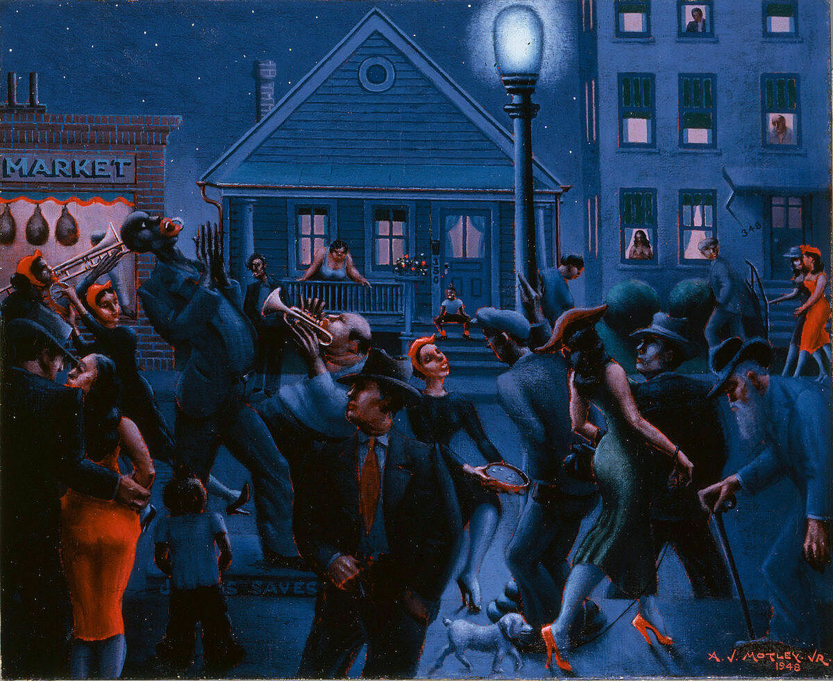 Painting by Archibald J. Motley Jr.'s, depicting a crowd dancing under a streetlight at night.