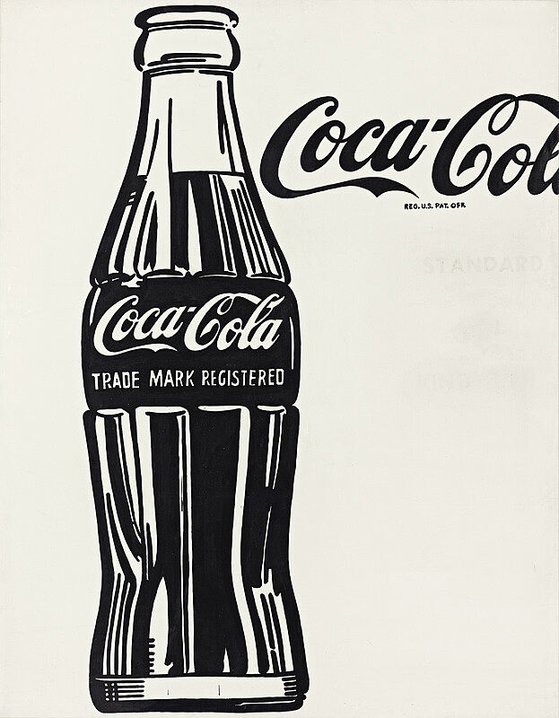Depiction of a Coca-Cola bottle with a partially cut off logo