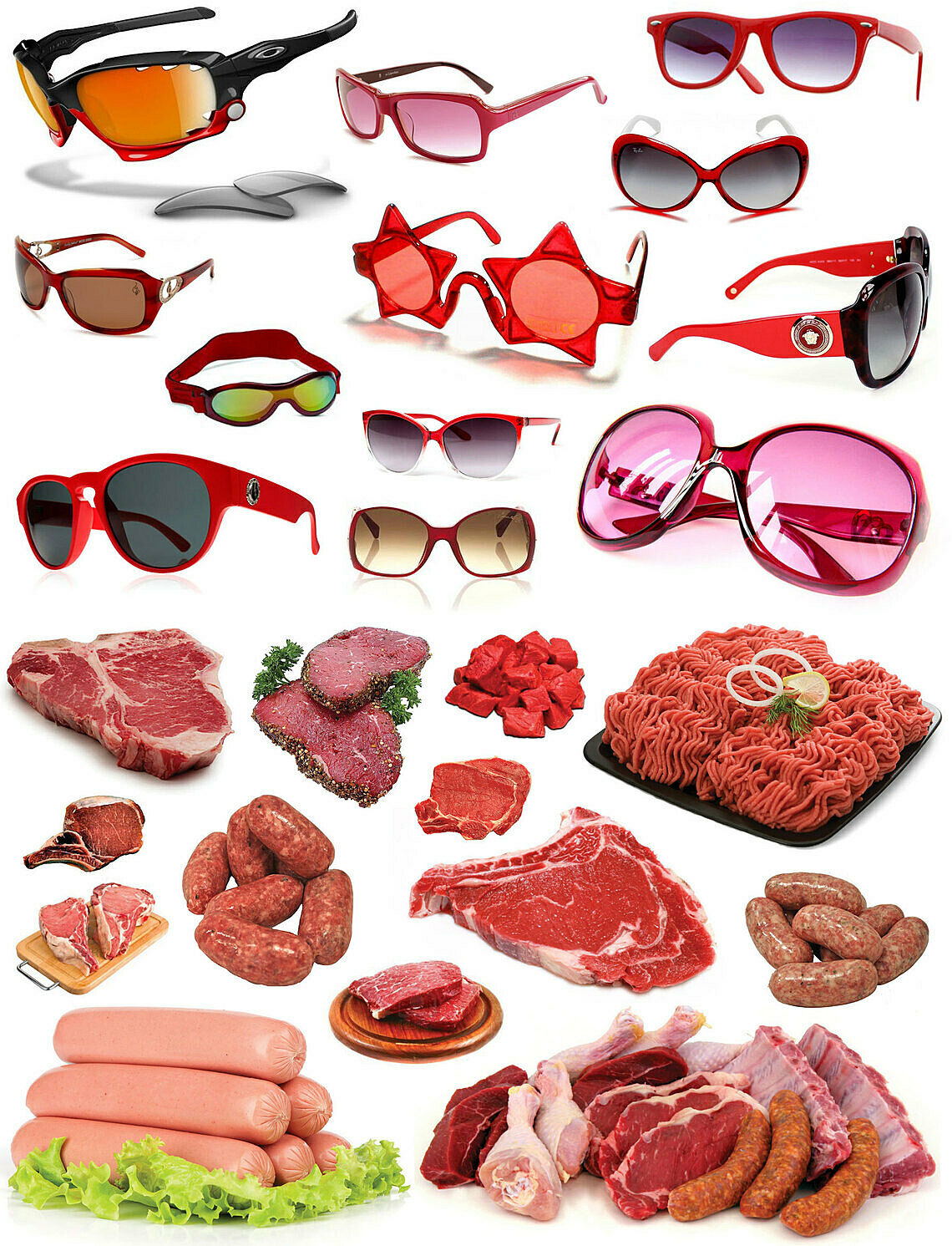 An image of different pairs of red sunglasses and red meat.