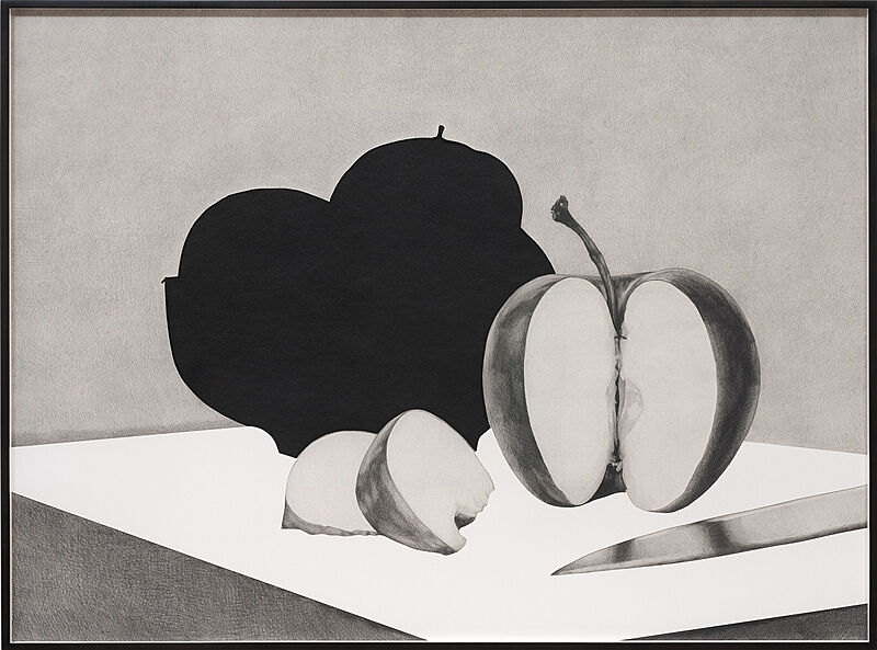 A drawing of an apple and a knife.