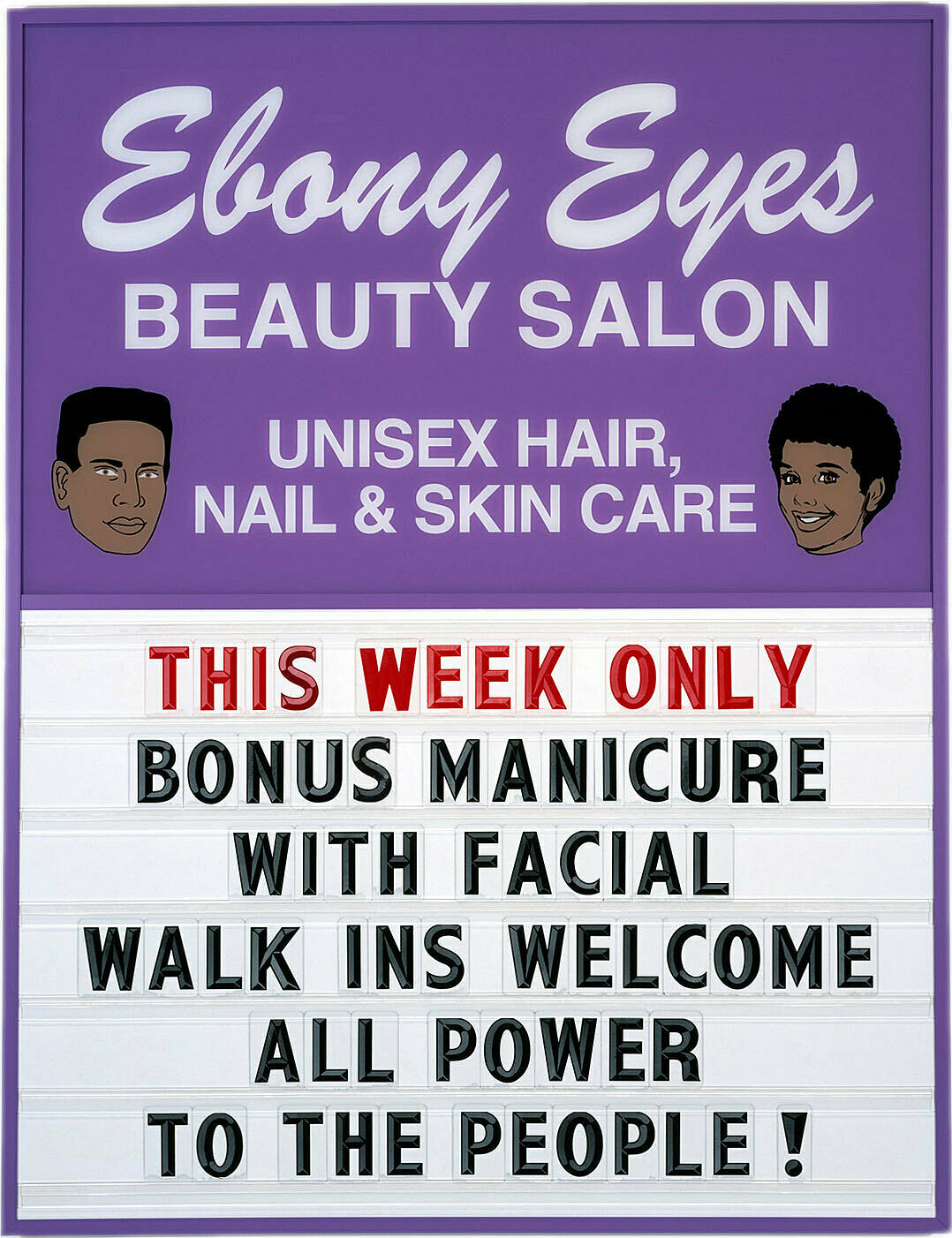 Poster of a beauty salon.