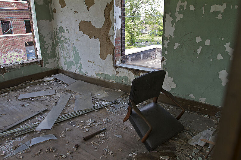 A view inside a destroyed house.