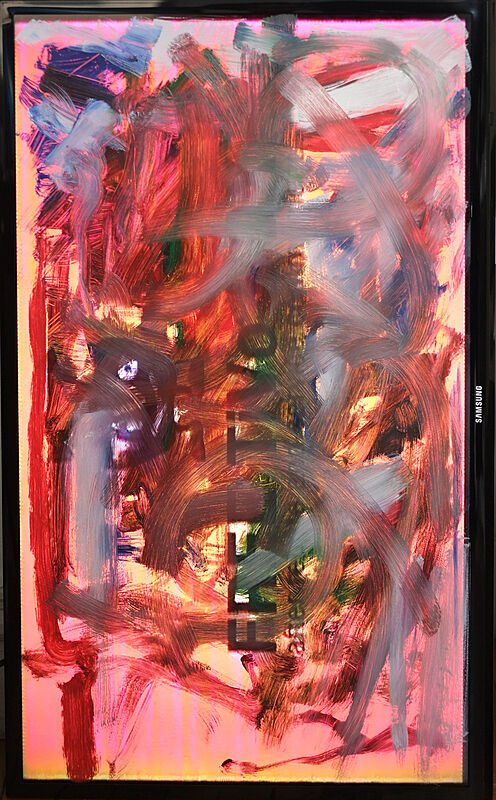 Pink pigments on an electronic screen.