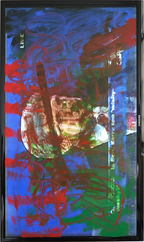 Mixed color pigments on an electronic screen.