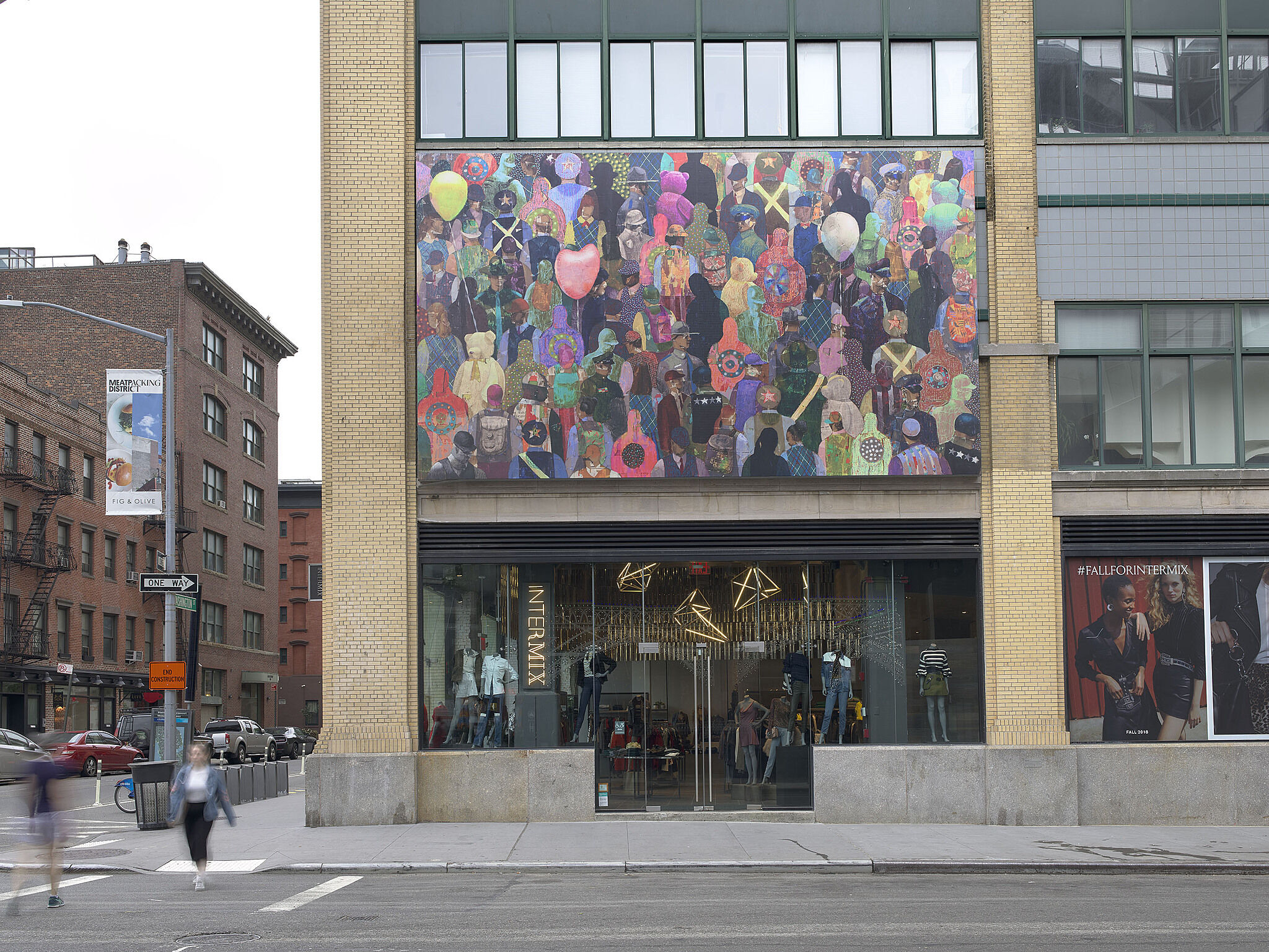 An installation image of a billboard artwork across from the Whitney Museum.