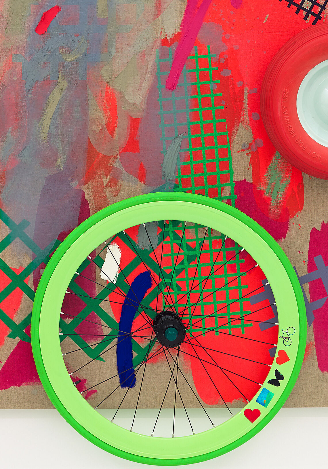 A painting of a bike wheel.