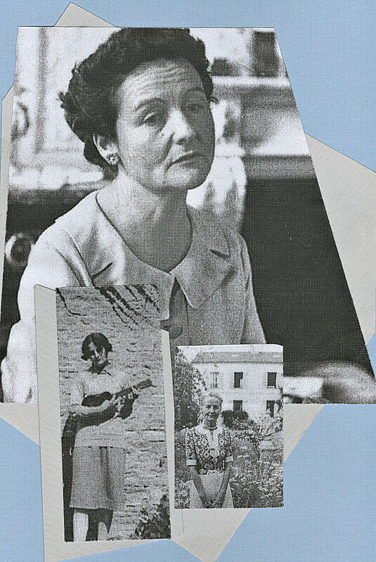 Collage of black and white photographs of a woman.
