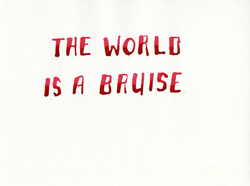 "Text ""The World is a Bruise"" in red ink on paper."