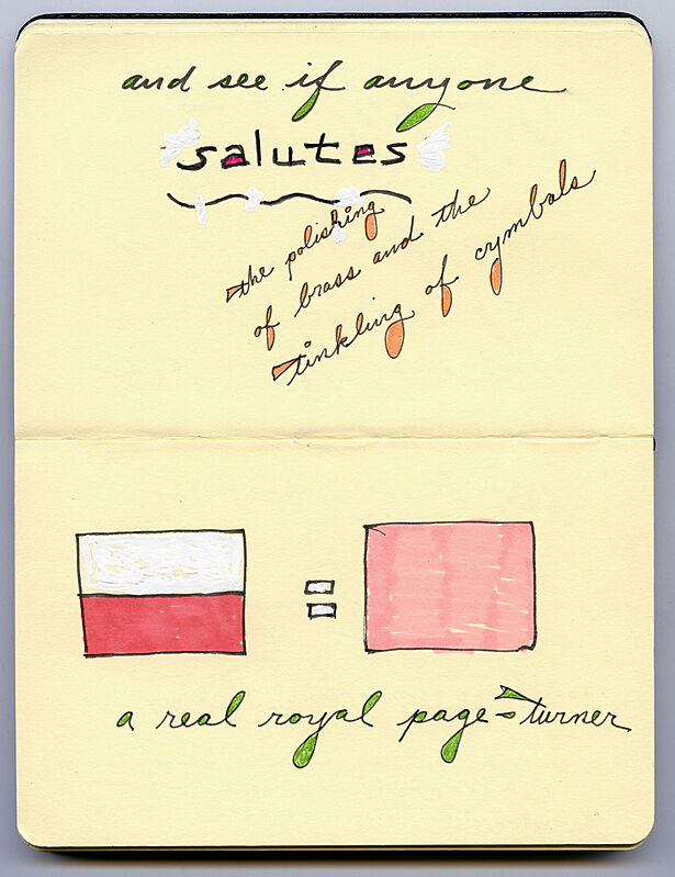 Sketch of two flags and texts.