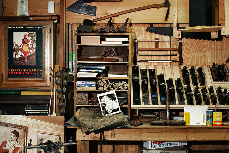 A studio view of many tools and wooden products.