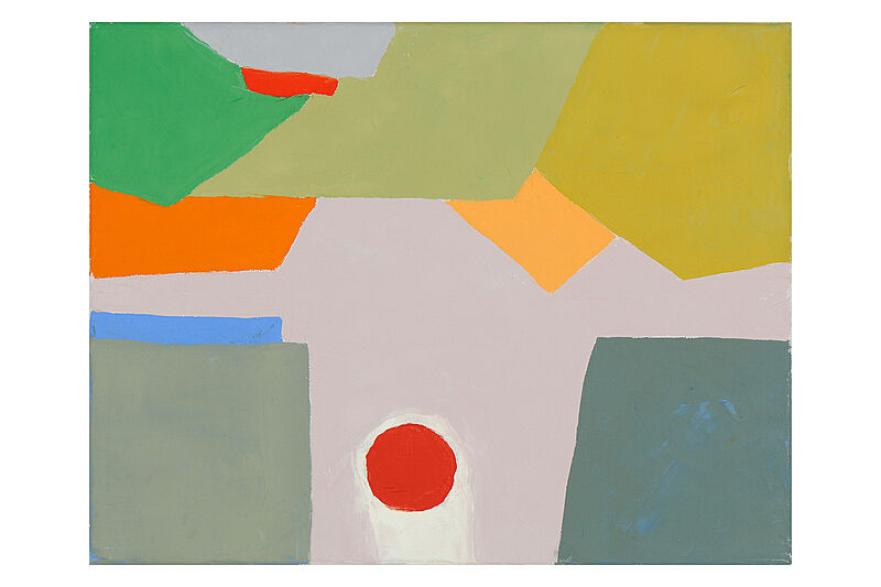 A painting of different colors and shapes.
