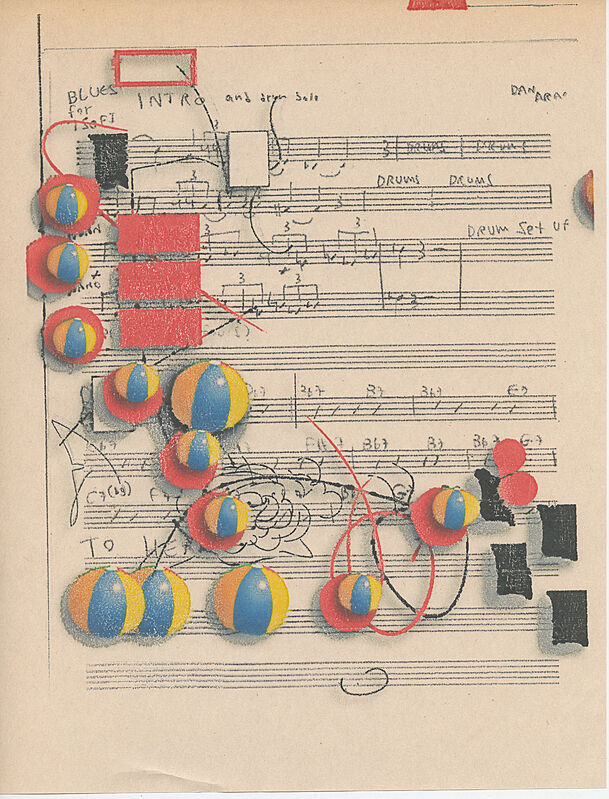 Colored balloons and notes on a music sheet.
