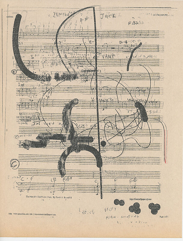 Black lines on a music sheet.