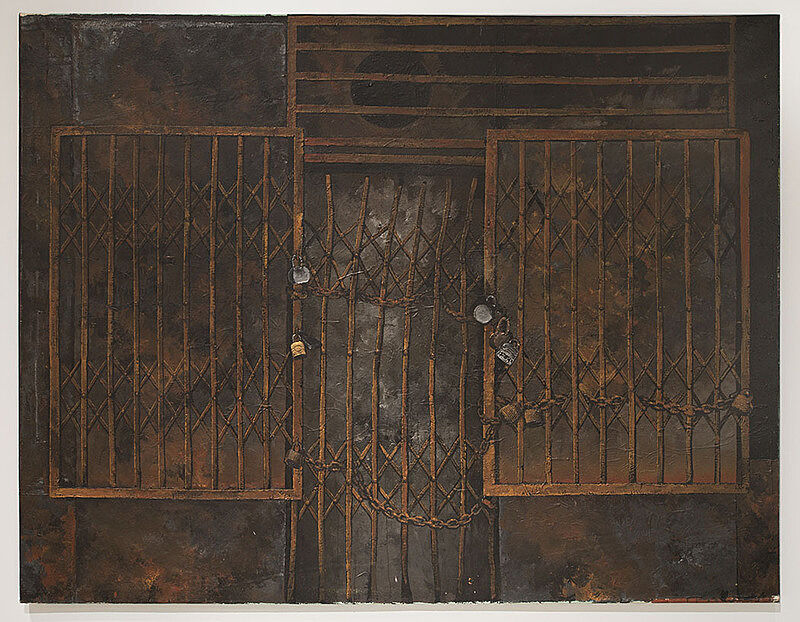 Painting of a locked metal gate.