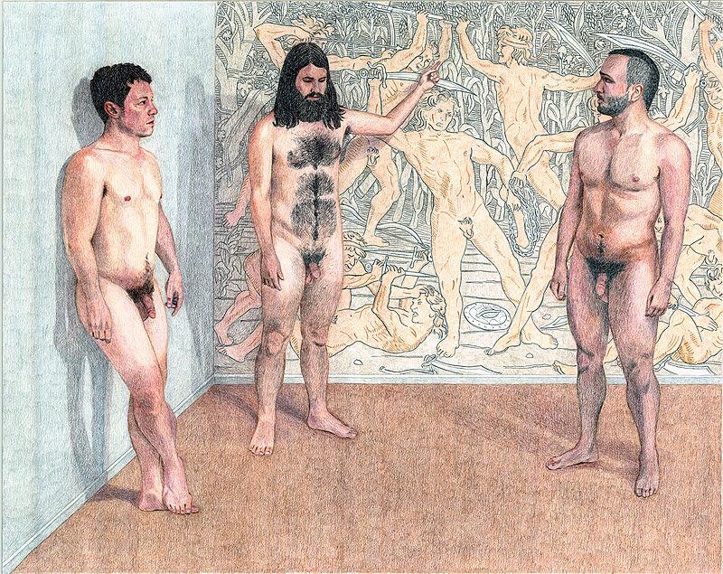 Three naked men standing.