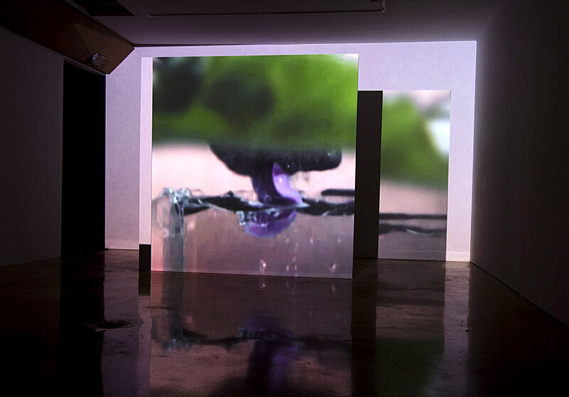 Installation view of video projecting on a wall.