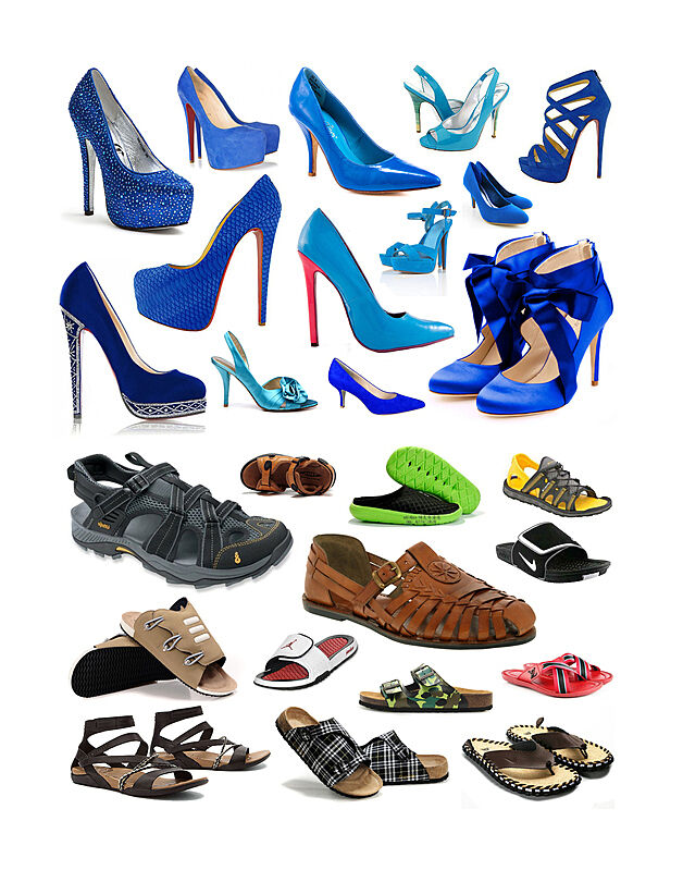 Different kinds of high heels and flats.