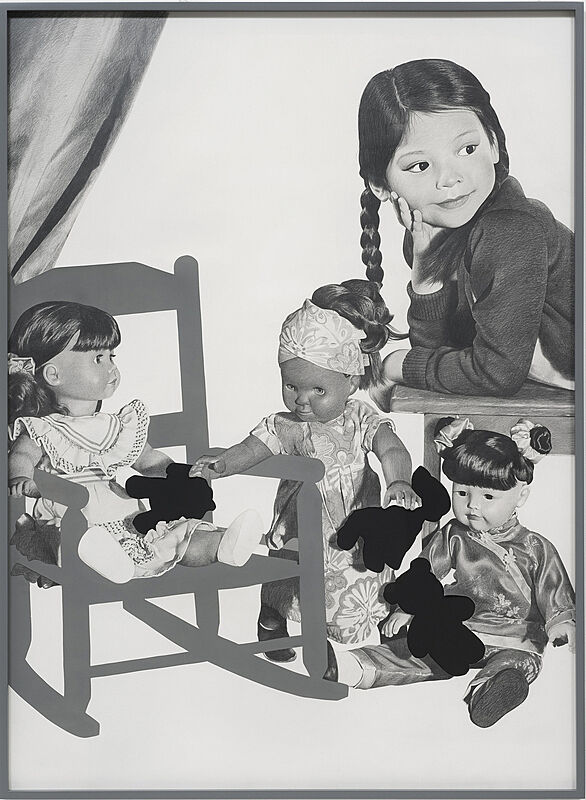 A young girl with three dolls.