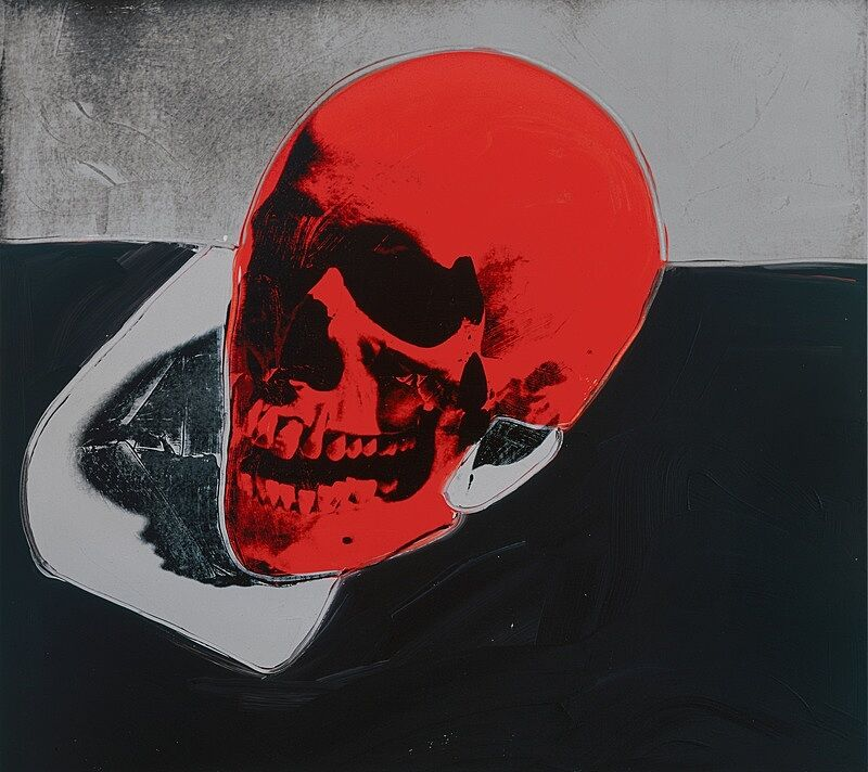 Image of a skull painted in bright colors.