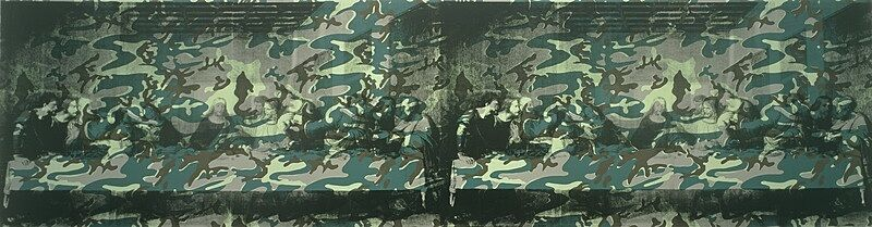 The Last Supper screenprinted twice and covered with camouflage paint.