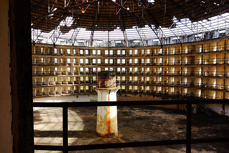 A still shot of a view inside a panopticon.