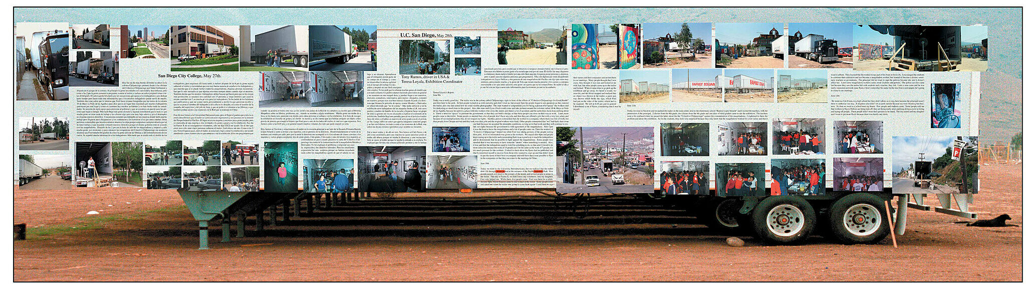 A collage of newspaper and images about trucks and workers.
