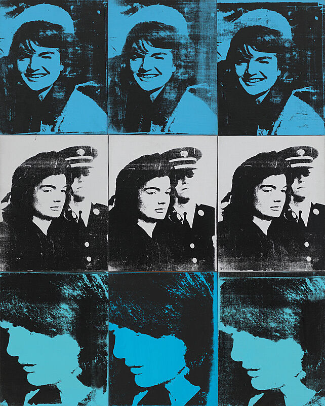 A grid of six repeated photos of Jackie Kennedy