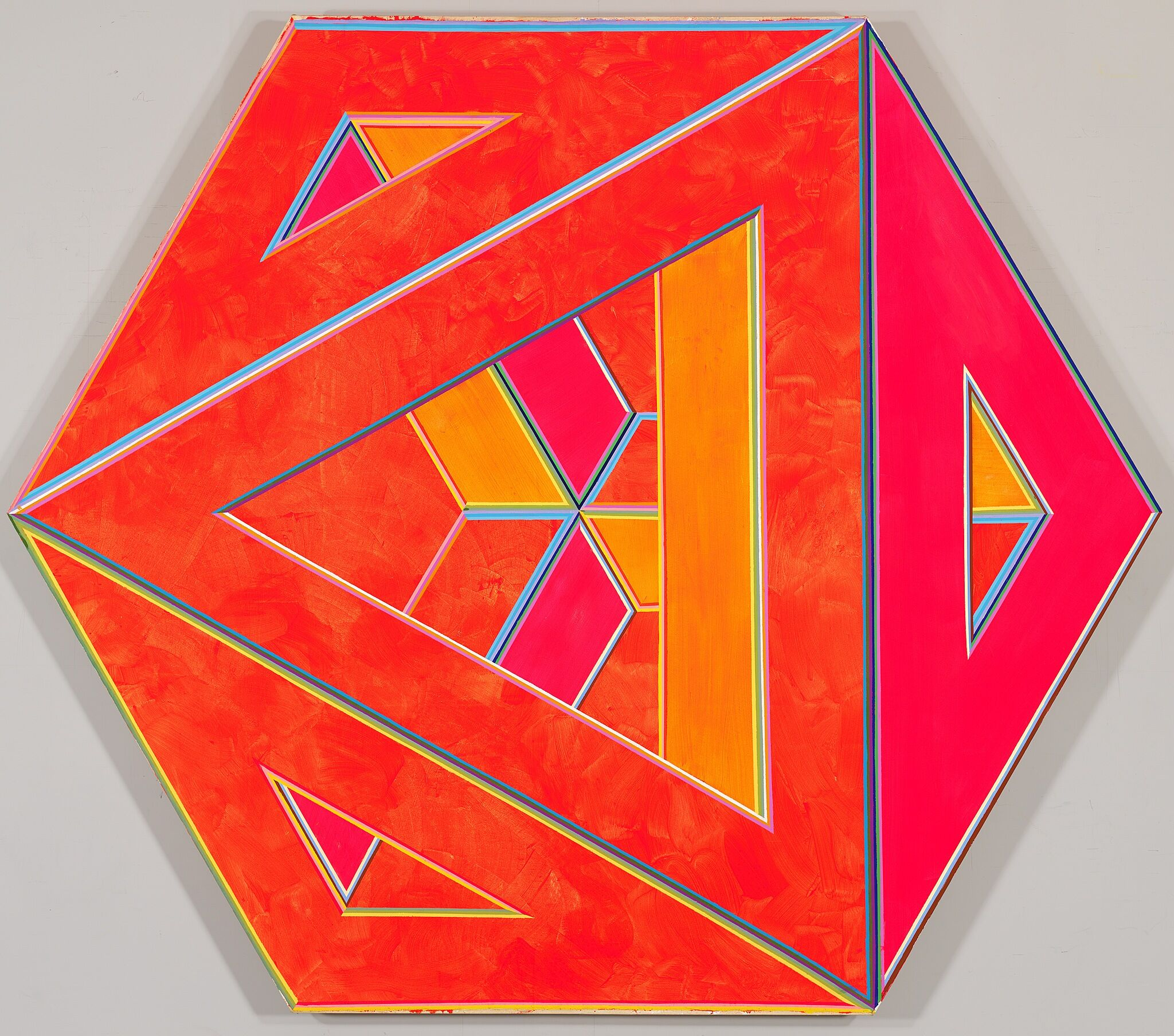 An orange septehedron-shaped canvas