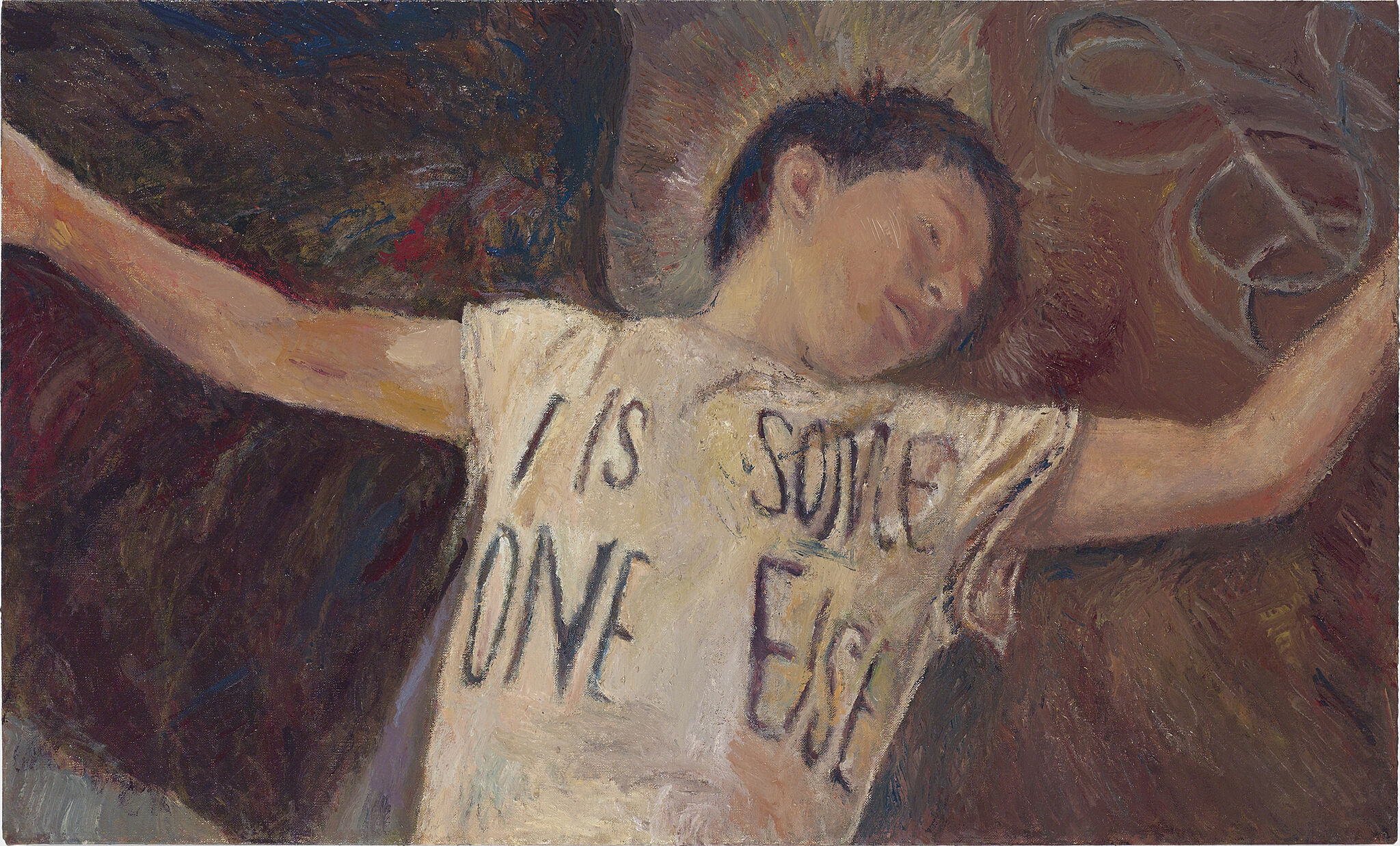 A painting of a boy lying on bed.