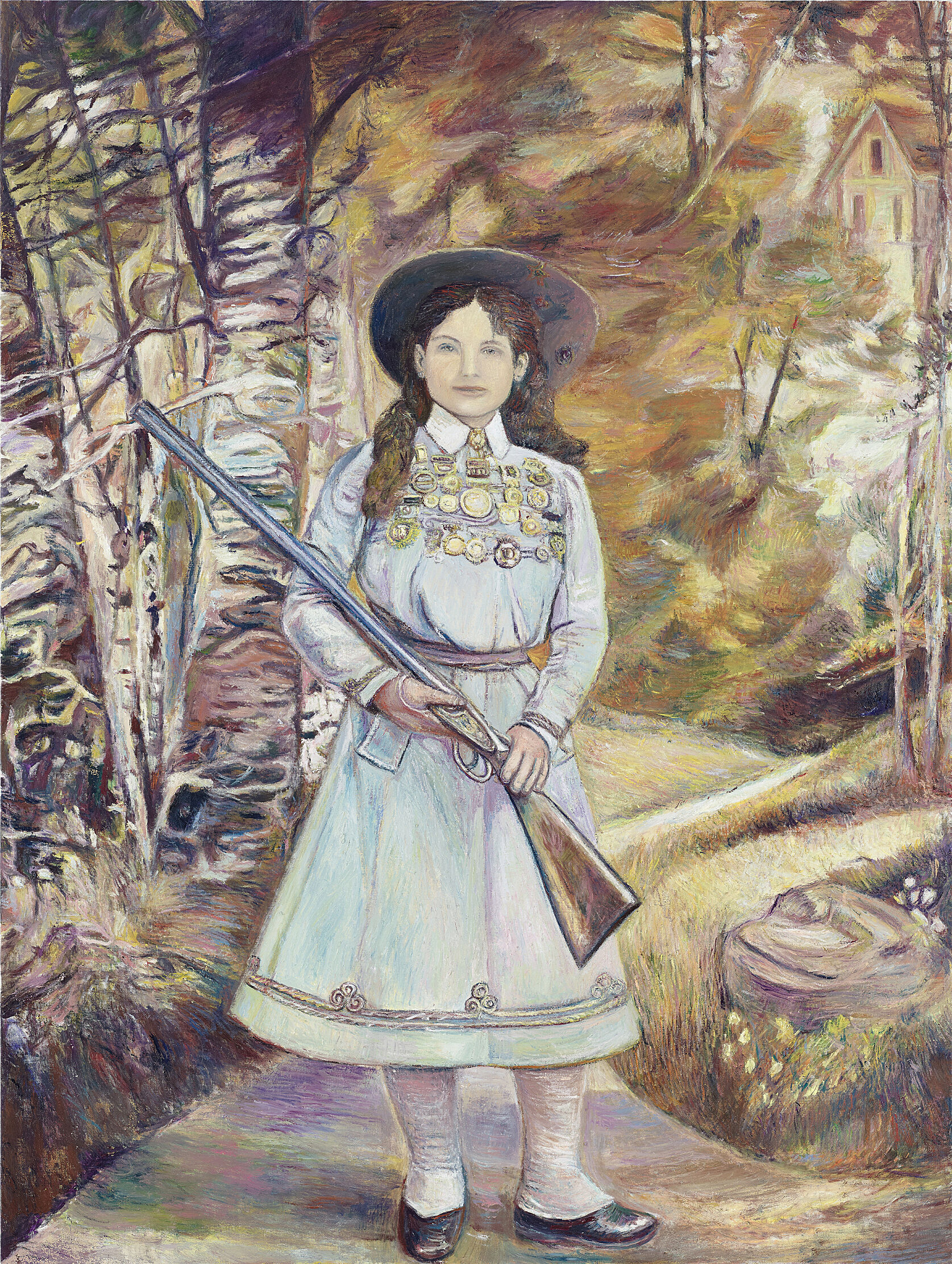 A painting of a girl holding a long gun.